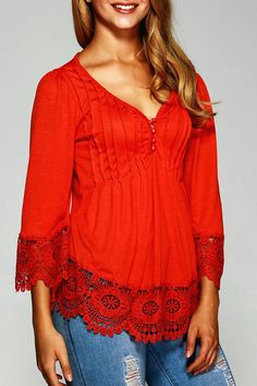 $14.98 Pleated Lace Splicing Blouse