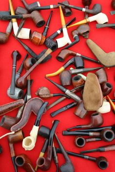Vintage Pipes as Mustach Bash Party Favors