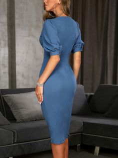 Shop Solid Double-Breasted Puff Sleeve Wrap Dress right now, get great deals at Voguelily Simple Dresses, Elegant Dresses, Sexy Dresses, Casual Dresses, Short Dresses, Fashion Dresses, Dresses For Work, Summer Dresses, Formal Dresses