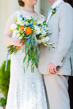Food-Focused Brunch Wedding, Bride in Hayley Paige Gown with Orange and White Bouquet | Brides.com