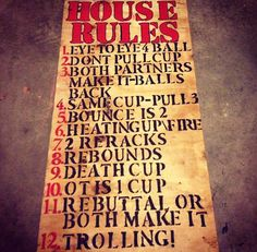 Beer pong house rules!