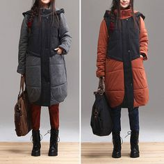 2colors  Hooded Loose  color matching  cotton  cloth coat by Aolo, $103.80