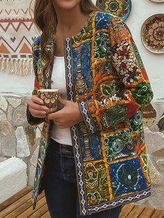 Ethnic Style Floral Print Plus Size Jackets - Newchic Plus Size Outerwear Mobile Plus Size Outerwear, Plus Size Coats, Outerwear Jackets, Themed Outfits, Chic Outfits, Fashion Outfits, Womens Fashion, Chiffon Maxi, Style Ethnique