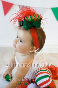 Boutique Christmas Green Red Stripes Baby Toddler Headband Bow