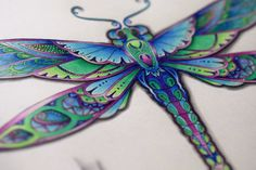 VIDEO Polychromos with colors used Johanna Basford - Enchanted Forest - How to color a dragonfly