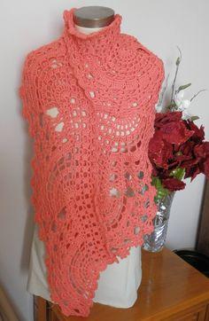 Hand Crocheted Salmon Lace Fan Scarf