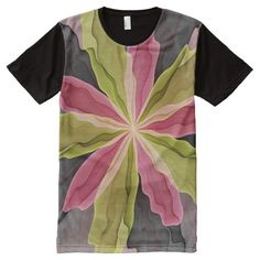 No Sadness, Joy, Fantasy Flower Fractal Art All-Over Print T-shirt
