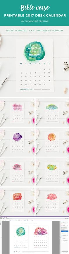 Be inspired every day with this printable 2017 desk calendar with a new Bible…