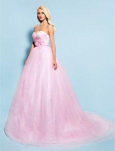 Ball Gown Sweetheart Chapel Train Tulle Wedding Dress