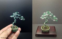 A green and silver wire mame bonsai tree by Ken To by KenToArt.deviantart.com on @deviantART