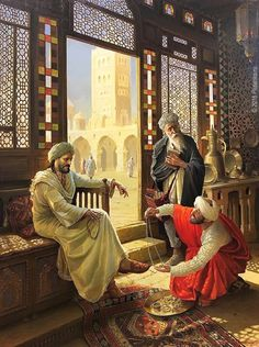 The wise man and the trader. Art Stanislav Plutenko is a modern artist born But this image is a medieval depiction approximately or latest. Art And Illustration, Illustrations, Art Arabe, Middle Eastern Art, Arabian Art, Islamic Paintings, Old Egypt, Historical Art, Egyptian Art