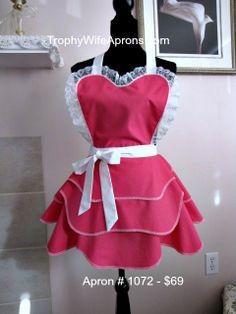 Apron # 1072 - Hostess apron - Pink apron - sexy apron  - http://www.facebook.com/TrophyWifeAprons