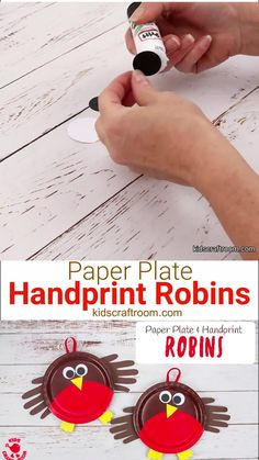 Here's an adorable PAPER PLATE ROBIN CRAFT that's perfect for your toddlers and preschoolers.  These cute robins are really easy to make and so sweet with their HANDPRINT WINGS! Handprint crafts always make the most darling keepsakes don't they? This paper plate craft is fun all your round and particular cute as a Christmas craft or Spring craft! #kidscraftroom #paperplatecrafts #handprintcrafts #christmascrafts #toddlercrafts #preschoolcrafts #robins #robin Spring Crafts For Kids, Crafts For Kids To Make, Craft Activities For Kids, Christmas Crafts For Kids, Summer Crafts, Art For Kids, Bird Crafts Preschool, Kid Art, Kids Crafts