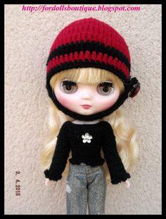 Cap & Sweater for Middie Blythe dolls. - Gorrito y jersey para Middie Blythe de Fordollsboutique en Etsy