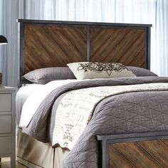 The industrial style Fashion Bed Group Braden Metal Headboard is a handsome design with diagonal patterned wood panels with gunmetal finished carbon. Reclaimed Wood Headboard, Rustic Wood Walls, House Beds, Wood Beds, Bed Plans, Comforter Sets, Bedding, King Comforter, Cafe Interior