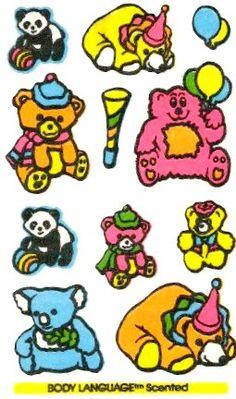 Birthday Party Mello Smello Body Language scratch and sniff sticker tattoos - 1980's