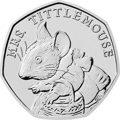 The 2018 Mrs. Tittlemouse 50p coin has been issued to celebrate one of Beatrix Potter's most loved children's tales, 'The Tale of Mrs. Tittlemouse'. This is the first UK coin to feature Mrs. Tittlemouse and is part of the third series of Beatrix Potter 50ps; the 2016 and 2017 series proved to be extremely popular with coin collectors. Designed by Emma Noble, the design features Mrs Tittlemouse in the centre of the reverse of the coin. This coin has not yet been released into circulation.
