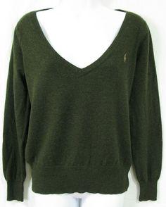 RALPH LAUREN SPORT Size XL Dark Green Tan Pony Cashmere Wool Deep V Neck Sweater #RalphLauren #VNeck