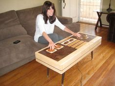 Handmade Wooden Nintendo Controller Coffee Table, Actually Works » Man Made DIY | Crafts for Men « Keywords: nintendo, table, vintage, retro