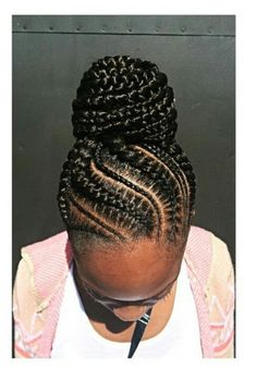 Braided Updo for Black Hair, Braids Braided Goddess Updo, Goddess Braids Updo, Updo Braids Goddess Hair Feed In Braids Ponytail, Braided Ponytail, Cornrows Updo, Fishtail Braids, Black Braided Updo, African Braids Hairstyles, Braided Hairstyles, School Hairstyles, Updo Hairstyle