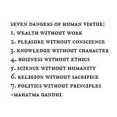Seven dangers of human virtue.