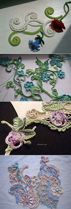 This Pin was discovered by Aya Free Form Crochet, Crochet Motif, Irish Crochet, Crochet Designs, Knit Crochet, Crochet Patterns, Crochet Leaves, Thread Crochet, Crochet Flowers