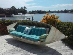 Over 20 of the BEST ideas for upcycling furniture - Creative Upcycled Furniture Haus Am See, Lake Decor, Coastal Decor, Old Boats, Sail Boats, Creation Deco, Lake Cabins, Repurposed Furniture, Furniture Ideas