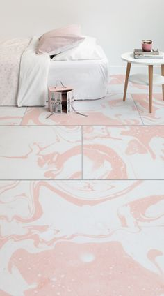 Add a touch of luxury to your little one's bedroom with the soft pink watercolours of Whisper's Marbelised Watercolour Tile Effect Flooring. As this flooring is printed on completely durable, waterproof, luxury vinyl flooring, it is an ideal and stylish choice for any kids bedroom, nursery or even playroom. #vinyl #flooring #inspiration #design #decor #home #homedecor #interior #interiordesign #Ihavethisthingwithfloors