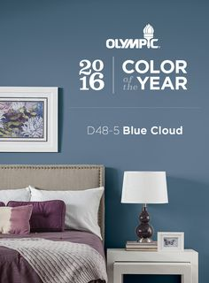 2016 Paint Color Trends : Make your space  pop and step out of your comfort zone this year with 2016 Paint Color of the Year, Blue Clouds by OLYMPIC® Paints