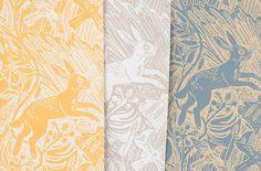 Mark Hearld - Harvest Hare - three colours of wallpaper