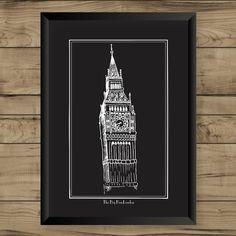 Pôster Londres Preto
