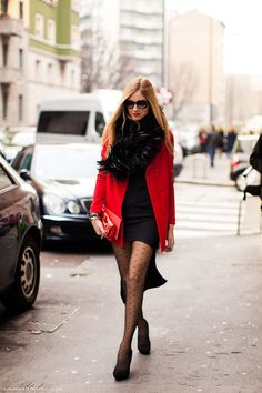 red+black = simultaneously saucy and sophisticated. and i'm really feeling FUR infinity scarves right now!