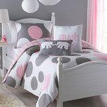 Toddler room: Pink & Gray Parade Comforter & Sham