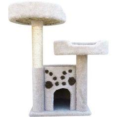 New Cat Condos Premier Double Perch Solid Wood Cat Condo, Beige – Cat Supplies
