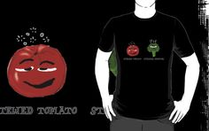 Funny Veggies Broccoli and Tomato by Sarah Countiss    My original humorous cartoon stewed tomato and steamed broccoli.