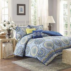 Home Essence Taza 5 Piece Comforter Set Blue FullQueen