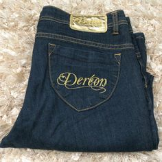Dereon Blue Jeans Boot Cut Mid rise jeans boot cut great condition just wear at the end of both legs. Will not be noticed when wearing. Size 13/14 on label and 32 inch inseam. Dereon Jeans Boot Cut