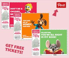Celebrate Valentine's Day with Chuck E.! Download our fun new Valentine cards for your kids to give to their friends. They'll get 25 FREE tickets on each card! Download the cards at http://www.chuckecheese.com/activities/downloads