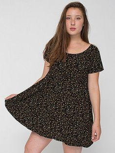 American Apparel - Printed Rayon Challis Babydoll Dress