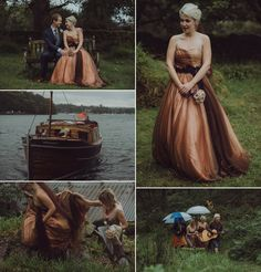 Victoria wore an alternative ballgown style dress by Aftershock for her intimate, outdoor, rainy day wedding in Scotland. Photography by http://www.drawingroomphotography.com/