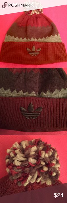 Adidas Pom Pom Beanie Authentic Adidas Pom Pom Beanie. Unisex. OS. Colors: Wine/Brown/Grey. Wine Cuff. Tri-Colored Pom Pom. Embroidered Brown Adidas Logo on the Front. Climawarm Patch on the Back. 100% Acrylic. Brand New. Excellent Condition. No Trades. Adidas Accessories Hats