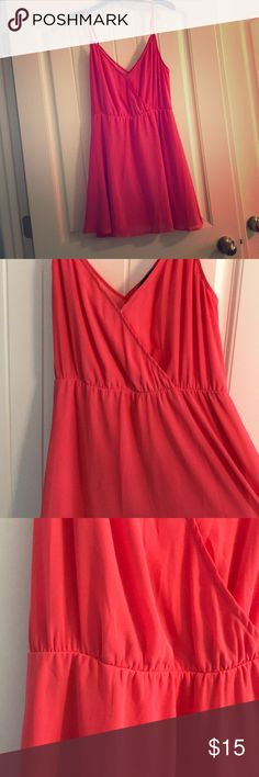 Pink summer dress Super soft, not see through, v-neck. Flows at the bottom. Practically new. Forever 21 Dresses Mini
