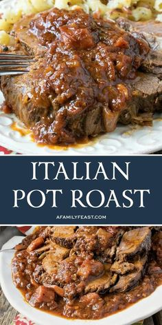 Italian Pot Roast - A Family Feast® : This easy Italian Pot Roast has flavorful and juicy, fork-tender beef smothered in a deep rich gravy. This easy Italian Pot Roast has flavorful and juicy, fork-tender beef smothered in a deep rich gravy. Chuck Roast Recipes, Pot Roast Recipes, Meat Recipes, Cooking Recipes, Italian Beef Recipes, Roast Beef Dishes, Sushi Recipes, Game Recipes, Italian Cooking