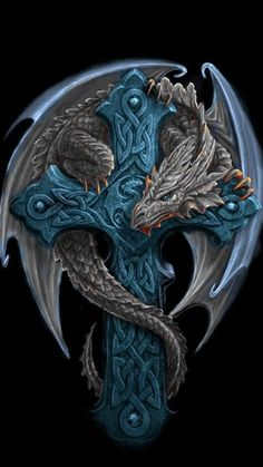 Celtic cross dragon by Anne Stokes