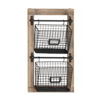 Decmode Industrial Wood And Iron 2 Tier Basket Wall Rack With Label Slot Black Baskets On Wall Wall Racks Industrial Wood