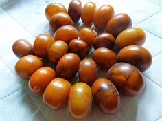 Antique African Amber Phenolic Resin Beads Mauretania Mali.
