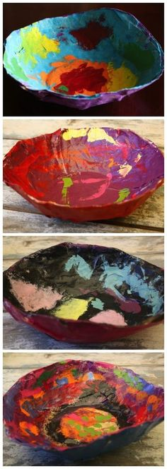Paper Mache Bowls for Kids to Make - great for holding keys, paper-clips and other bits and bobs. Super homemade gift for little ones to make and give. - Happy Hooligans