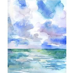 Abstract Ocean/Seascape watercolor giclée reproduction. Portrait/vertical orientation. Printed on fine art paper using archival pigment inks. This quality printing allows over 100 years of vivid color