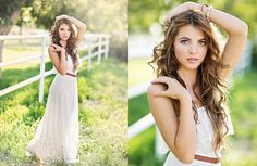 Classic senior girl models what to wear in grassy location