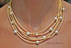 Pearl and Leather Jewelry Necklace 5 Strand Metallic Gold
